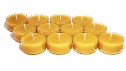 BCandle 100% Pure Raw Beeswax Tea Lights Candles Organic Hand Made (Pack of 24)