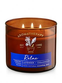 Bath & Body Works 3 Wick Candle – Relax – Lavender & Cedarwood Aromatherapy Scented Candle