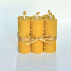 100% Beeswax Pillar Candles Set of 6 Size 3.14 x 1.18 in (8 x 3 cm) Eco Candles Hand Rolled Natu ...