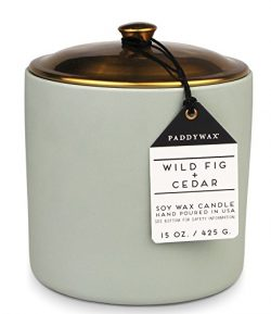 Paddywax Hygge Collection Scented Soy Wax Candle, 15-Ounce, Wild Fig & Cedar