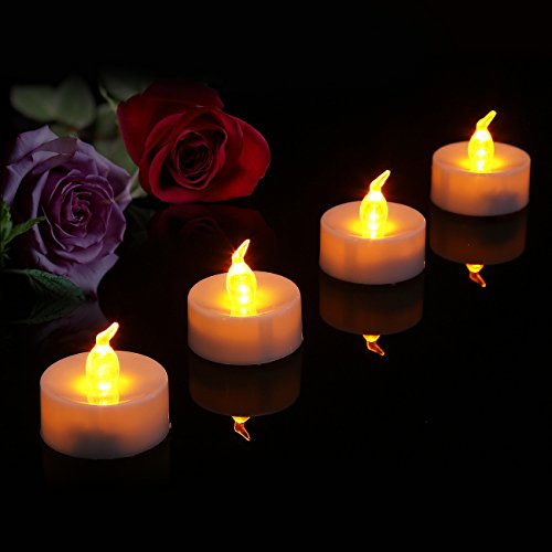 Battery Operated LED Tea Lights, Pack 24 Flameless Tealights Candles, Amber Yellow Flickering Bu ...