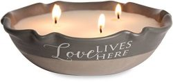 Pavilion Gift Company 86214 Plain Love Lives Here – 3 Wick Ceramic Tranquility Scented Candle,
