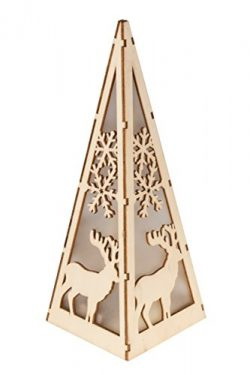 Christmas Flameless LED Candle Table Top Pyramid Lantern by Clever Creations | Durable Painted W ...