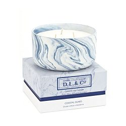 D.L. & Co.  Marble Collection Coastal Dunes Ceramic Blue Three-Wick Candle, 16-Ounce