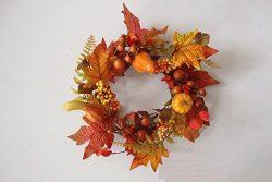 Pilgrims Harvest Fall Thanksgiving Candle Ring Mini Wreath Autumn Indoor Home Decor