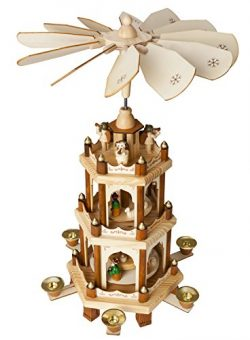 Christmas Decoration Pyramid 18 Inches Nativity Play 3 Tier Carousel with 6 Candle Holders ̵ ...
