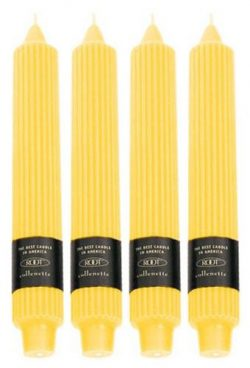 Root Unscented Grecian Collenettes Dinner Candles, 9-Inch, Sunflower, Box of 4