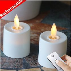 Set of 2 Moving Wick Flameless Rechargeable Votive Candle with Remote Control (white)