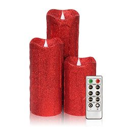 3D Flameless Pillar Candles with Remote, Set of 3 LED Candles Battery Included for Christmas Dec ...