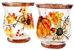 Fall Scene Mercury Glass Candle Holder – Set of 2