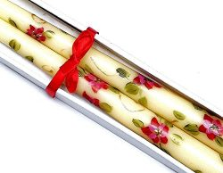 Hand Painted Poinsettia Christmas Taper Candles Gift Boxed Set With Bow