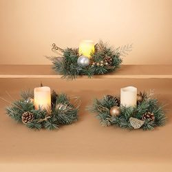 Set of 3 Christmas Candle Rings – 10 Inches Diameter- Gold and Silver With Artificial Pine