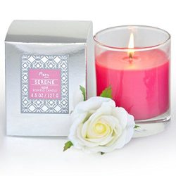 Manu Home SERENE Rose Scented Aromatherapy Candle ~ Infused with Tuberose to Enhance the Serene  ...