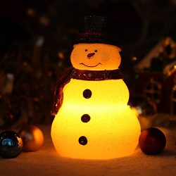 GiveU Home impressions Battery Operated Lovely Christmas Snowman with Red Scarf, Real Wax LED Ca ...