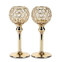 Autai 2pcs Gold Crystal Candle Holder for Wedding Centerpieces Candlesticks Birthday Party Dinin ...