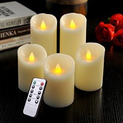 LED Flameless Candle Set of 5, Real Wax Battery Pillar Candles with Remote & Timer, Flickeri ...