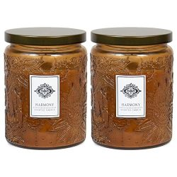 2 Aromatherapy Scented Candles – Harmony – Two 16 Ounce Glass Mason Jar Candles with ...