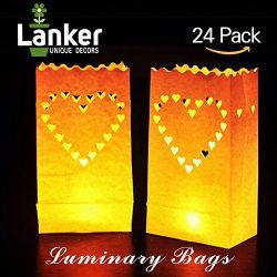 24 Pack Luminary Bags – Heart Design Candle Bags – Flame Resistant Light Holder R ...