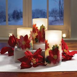 Loft Living LED Flameless Poinsettia Candle (Set of 3) l Glow and Flicker of Standard Candles wi ...