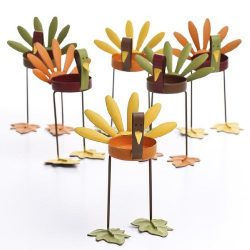Factory Direct Craft Set of 6 Warm Autumn Painted Metal Turkey Candle Holders.