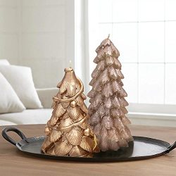 Christmas Table Decor Trees Candles 2 Pack 8″, Party Decorations Rose Gold and Gold