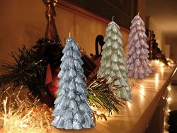 Christmas Trees Candles Ornaments 3 Pack 8″ Table Decoration Sets, Holiday Decor Party Gifts