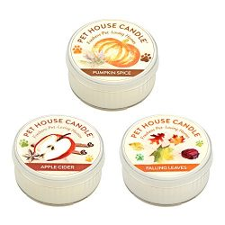 Pet House Candle – 3 Pack Mini Candle Set – Fall Mix – Natural Soy Wax – ...
