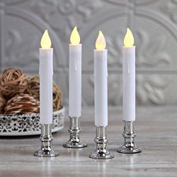 Flameless Taper Window Candles with Removable Silver Holders | Timer, Remote, Batteries and Suct ...