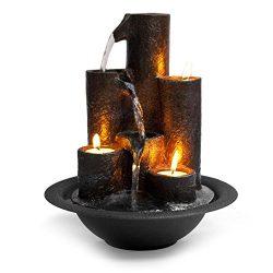 SereneLife Desktop Waterfall Fountain (3-Tier) | Cascading Tabletop Water Decoration | Indoor, O ...
