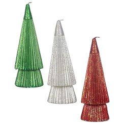 DecoGlow Set of 3 Sparkle Christmas Tree Holiday Candles, 8.5″