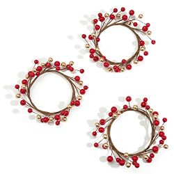 Holiday Candle Rings, Red and Gold Berry, Set of 3 – For Christmas, Thanksgiving, Parties  ...