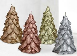 Christmas Trees Candles 4 Pack 6″ , Table Centerpiece Holiday Ornaments – Rose Gold, ...