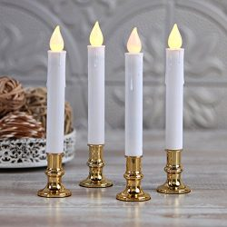 Flameless Taper Window Candles with Removable Gold Holders | Timer, Remote, Batteries and Suctio ...