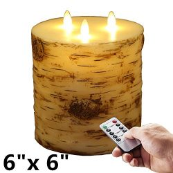 6″X6″ Remote & Timer 3-Wicks Birch Bark Effect Flat Top Flameless Candle with 3- ...