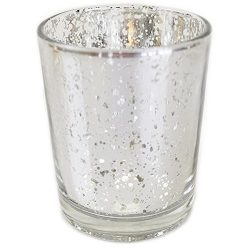 Just Artifacts Mercury Glass Votive Candle Holder 2.75″H (12pcs, Speckled Silver) -Mercury ...