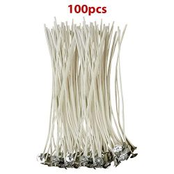 CozYours 100% NATURAL COTTON CORE CANDLE WICKS WITH TABS FOR CANDLE MAKING, 100 PCS 6″, LO ...