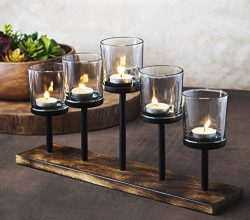 Elegant, Decorative Votive Candle holder Centerpiece, 5 Glass Votive cups On Wood Base/ Tray For ...