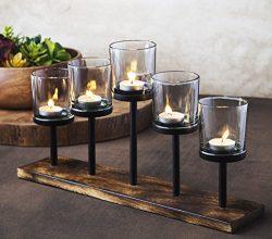 Elegant, Decorative Votive Candle holder Centerpiece, 5 Glass Votive cups On Wood Base/ Tray For ...