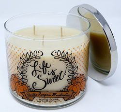 Bath & Body Works Life Is Sweet Vanilla Pumpkin Marshmallow Scented 3 Wick 14.5 Ounce Candle