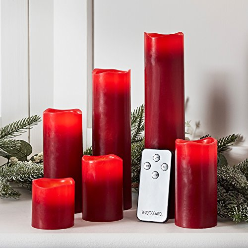 Set of 6 Red Wax Battery Operated Flameless LED Pillar Candles with Remote Control