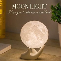 Mydethun Moon Lamp Moon Light Night Light for Kids Gift for Women USB Charging and Touch Control ...