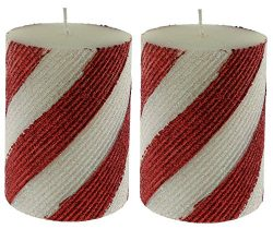 Jay Imports Bias Glitter Red And White Stripes 3″ X 4″ Pillar Candle, Set of 2