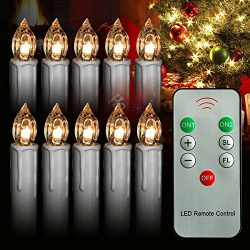 10Pcs Warm White LED Taper Candles Lights LED with Remote Control, Brightly Flameless Battery Op ...