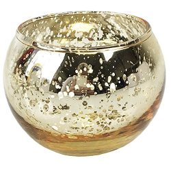 Just Artifacts Round Mercury Glass Votive Candle Holders 2″H Speckled Gold (Set of 12)  ...