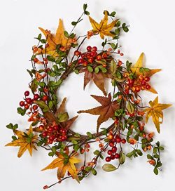 Worth Imports 6.5″ Fall Berry & Leaf Candle Ring, 12″ Outer Diameter Centerpiece