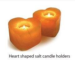 Himalayan Crystal Salt Rock Tealight | Candle Holder | Hand Carved | Heart Shaped | 2 Pack