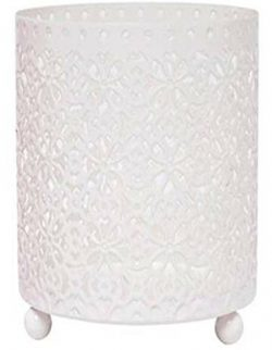 Hosley Large White Jar Candle Lace Sleeve / LED Lantern Ideal GIFT for Wedding Day, Party favor, ...