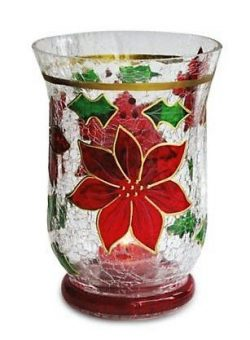 Christmas Hurricane Candle Holder, 6-Inch Poinsettia Decoration