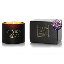 Oojra Essential Oil French Provence Lavender Scented Soy Wax Luxury Candle 3 Wick 13 oz (370g) 7 ...