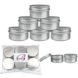 Beauticom (Quantity: 6 Pieces) 80G Empty Silver Round Aluminum Metal Tin Sample Jar Containers w ...